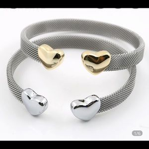 Silver on Silver Mesh Heart Bangle